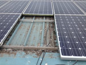 Damaged solar panels